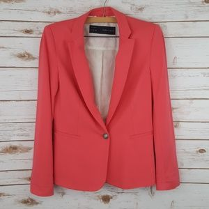 Zara Basic Lined Coral Blazer Medium